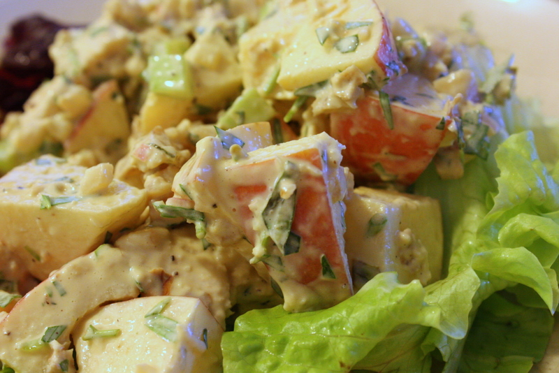 chicken salad on csa lettuce