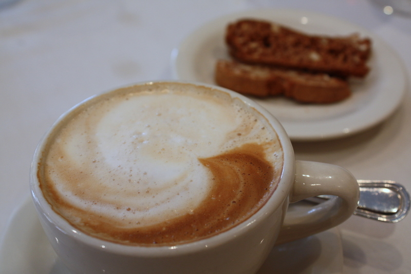 cappucino and biscotti