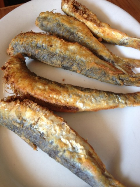 fried sardines at taverna kyclades