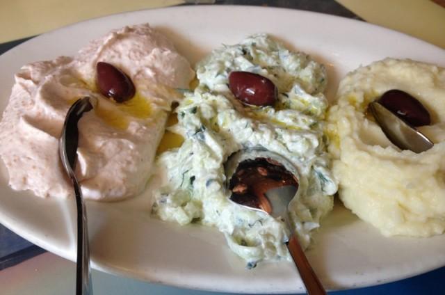 taramasalata, tzatziki, skordalia at taverna kyclades