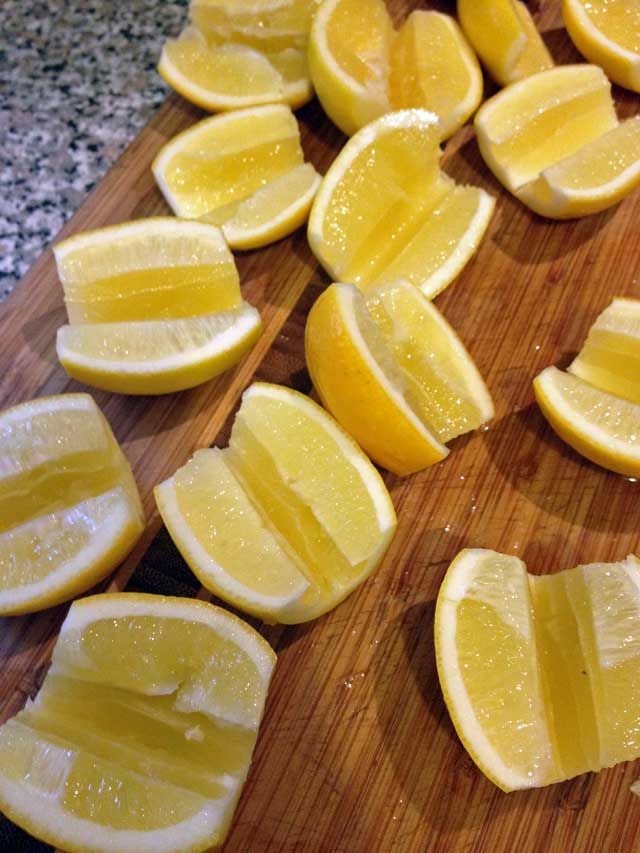 Meyer lemons halved and cored